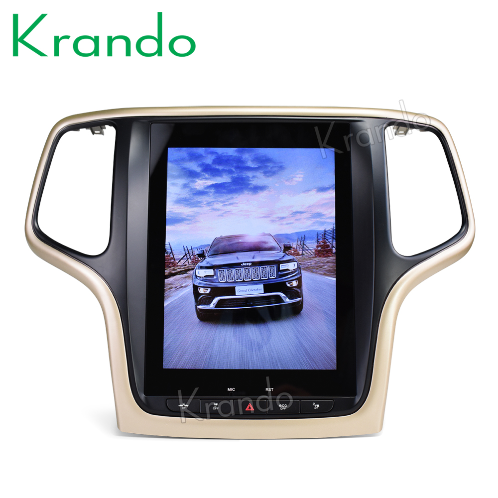 Krando Android 8.1 10.4 Tesla Vertical screen car radio gps navigation for Jeep Grand Cherokee 2014-2016 multimedia system WIFI image