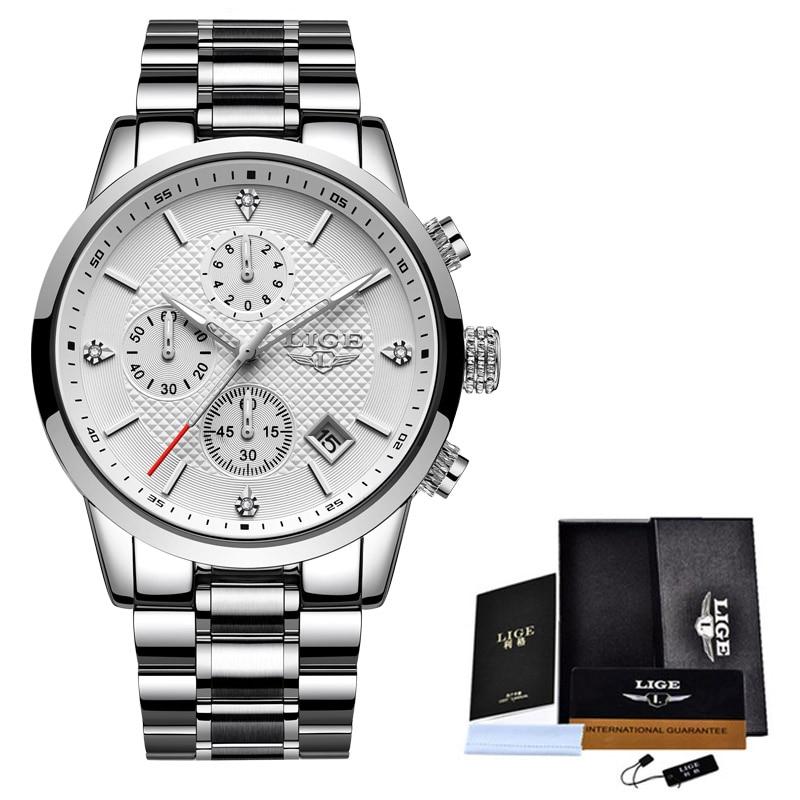 2020 LIGE Men Watches Top Luxury Brand Sport Quartz Watch Men Chronograph Waterproof Wrist Watch Man Stainless Steel Date Clock