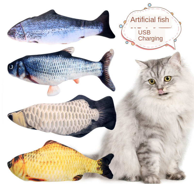 Moving Fish Toys Pet Cats Electronic Catnip Toys USB Charging Simulation Fish Toys Dog Cat Playing Biting Chewing Training Pets