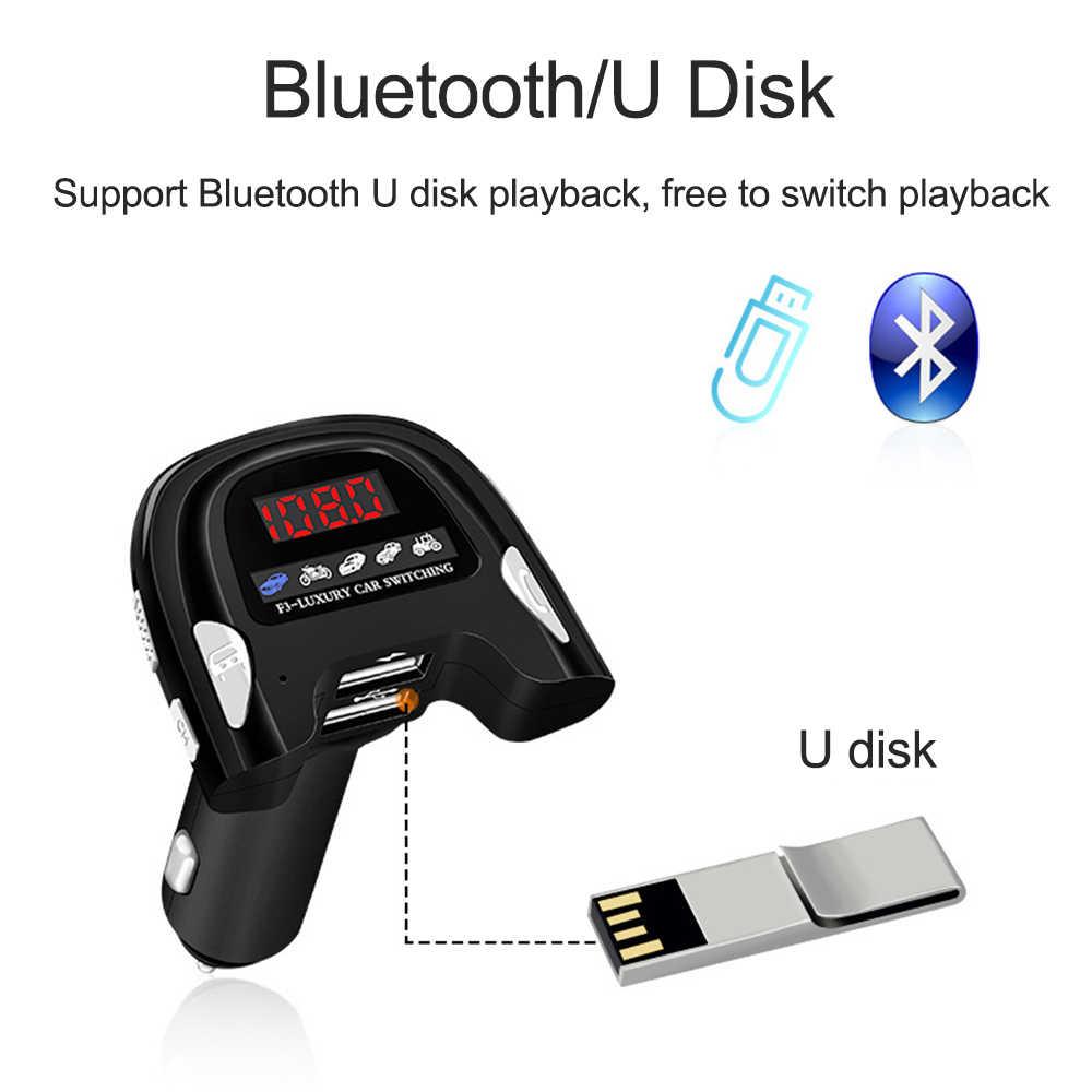 JINSERTA بلوتوث 5.0 FM الارسال شاحن USB مزدوج U القرص ستيريو الموسيقى اللعب سيارة يدوي Mp3 لاعب والملاحة Reportor