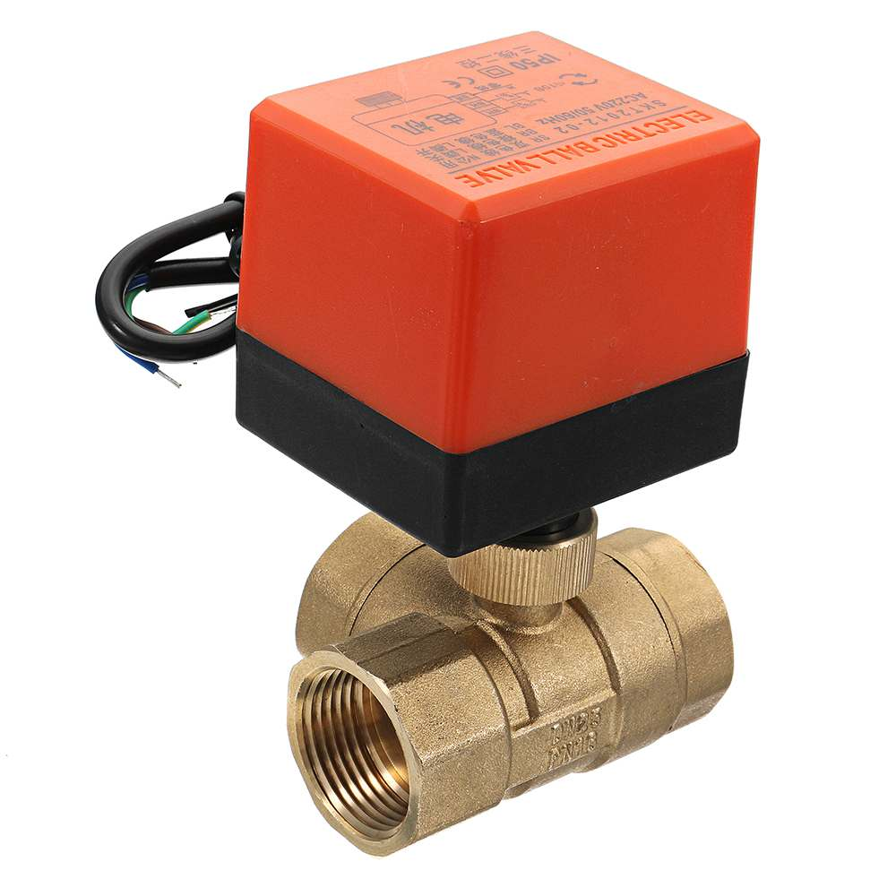 1/2 3/4 1 Motorized Electric Brass 3 Way Ball Valves Female 3 Wire AC 220V Full Port T Type Valve image