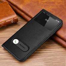 Iphone için hakiki deri kılıf 11 12 Pro XS Max Case için X XR kapak pencere görünüm Coque Iphone 11 12 Mini durumda manyetik kabuk