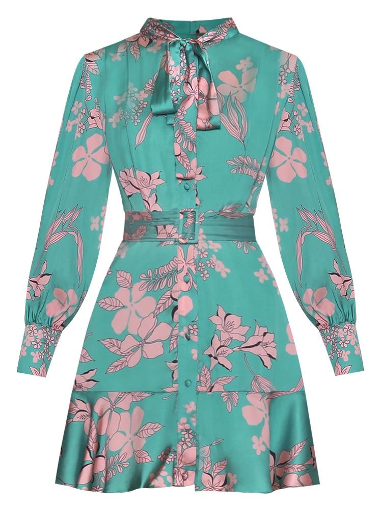 Seqinyy Green Dress 2020 Summer Spring New Fashion Design Long