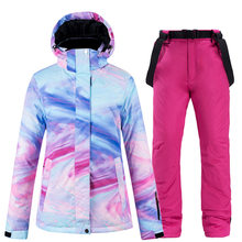 New ski suit women's winter outdoor veneer double board ski suit windproof waterproof warm thickening(China)