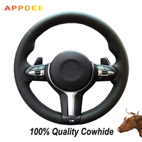 APPDEE Black Genuine Leather Car Steering Wheel Cover for BMW M3 M4 2014 2016 F33 428i 2015 F30 320d 328i 330i 2016