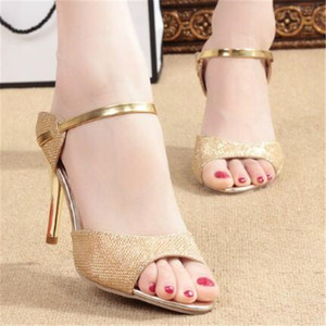 Женские босоножки из PU искусственной кожи, без шнуровки, на тонком высоком каблуке 9 см, с открытым носком, женская обувь, sandalias mujer, 2020, Размеры 35-42, золотистый, серебристый цвет