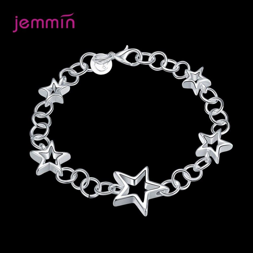 Fashion 925 Sterling Silver Stars Charm Bracelets Bangles Lobster Clasps Bracelet Women Femme Fashion Jewelry 19.5CM Length