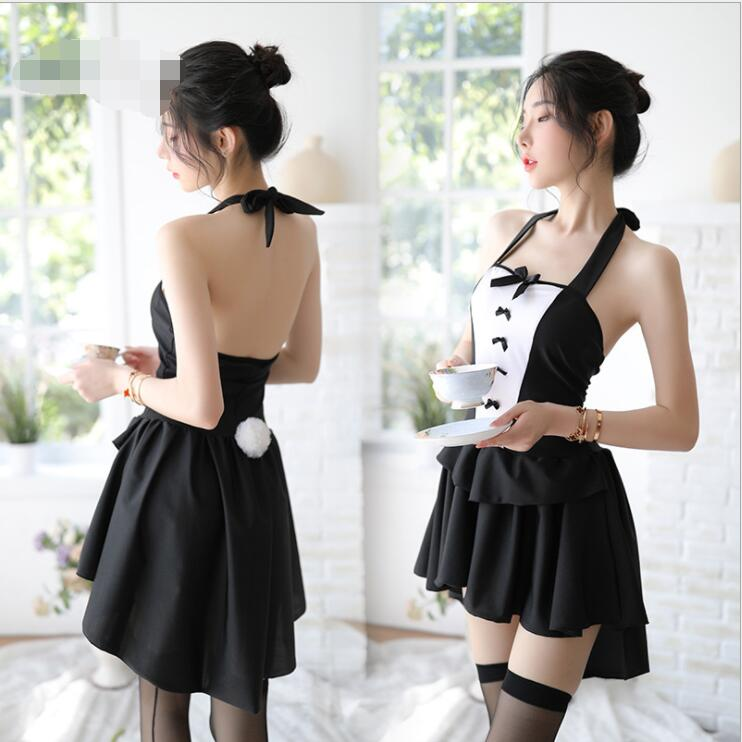 Japanese Kawaii Lingerie Erotic Student Uniform Sexy Dress With Gstring Role Play Cosplay Sex Play Maid Lingerie Sex Skirt Black