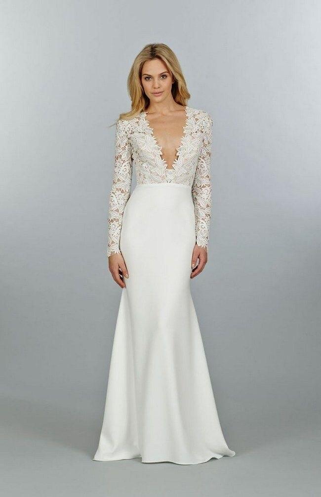 RBC573 Fashionable Long Sleeve Lace Beach Wedding Dresses 2016 Sexy V Neck Satin Vestidos De Noiva Robe De Mariage Custom Made