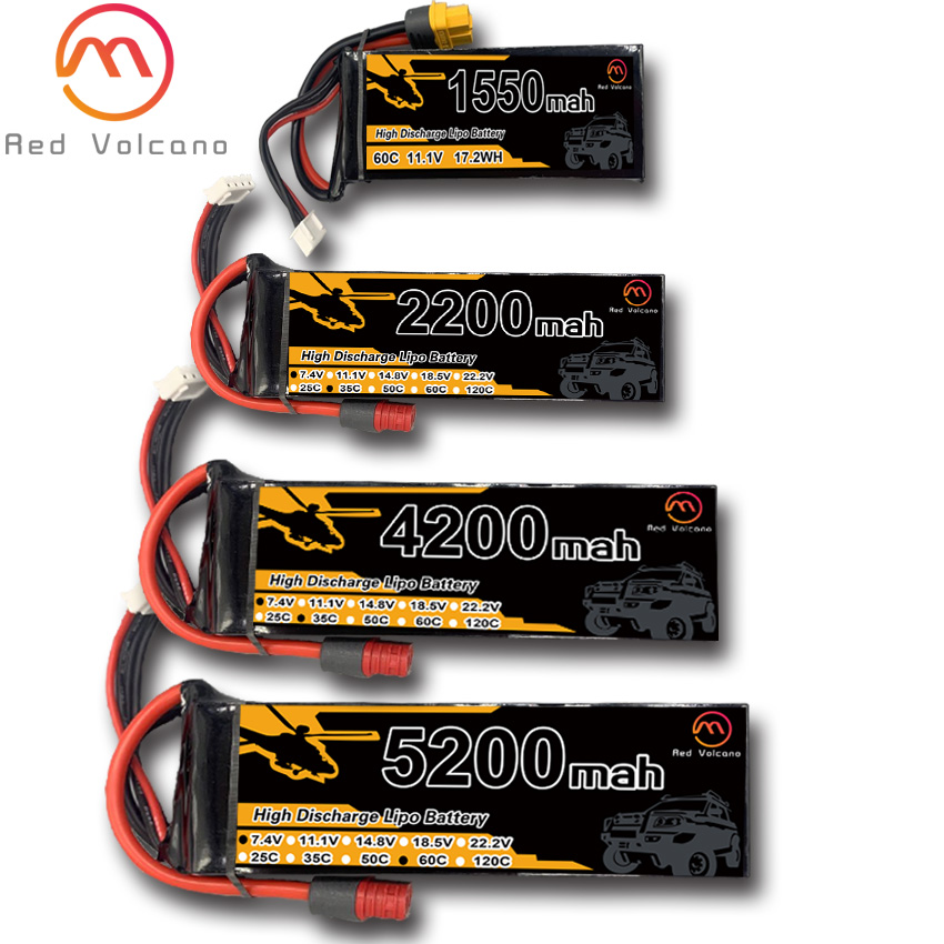 RC Lipo Battery 11.1V 25C 35C 60C 900 1100 1300 1550 2200 2600 3300 4200 5200 6200 battery Pack For Radio Control Drone Toys