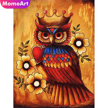 MomoArt Full Drill Diamond Painting King Owl In Crown Embroidery Animal Mosaic Kit Wall Craft Hobby