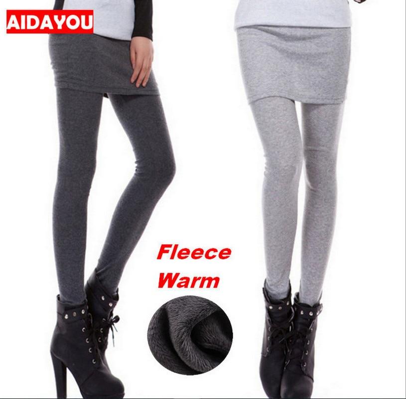 Damen Winter Warm Fleece Gefüttert Thermal Stretchy Leggings Hosen mit Rock