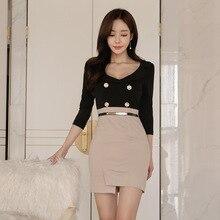 Women Three-quarter Sleeve V-neck Double Button Korean Dress Corset Mini Club Ladies Black Package Hip Wrap