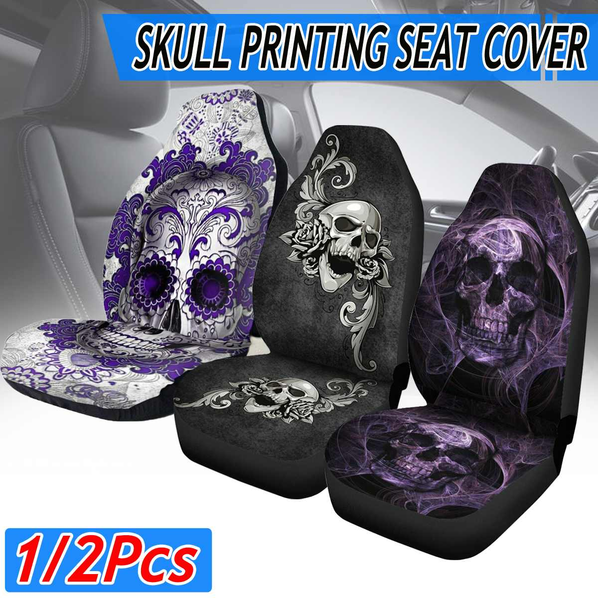 3D Skull Print Front Car Seat Cover Universal Car Seat Protector Seat Cushion Full Cover For Most Car for SUV Car Accessories