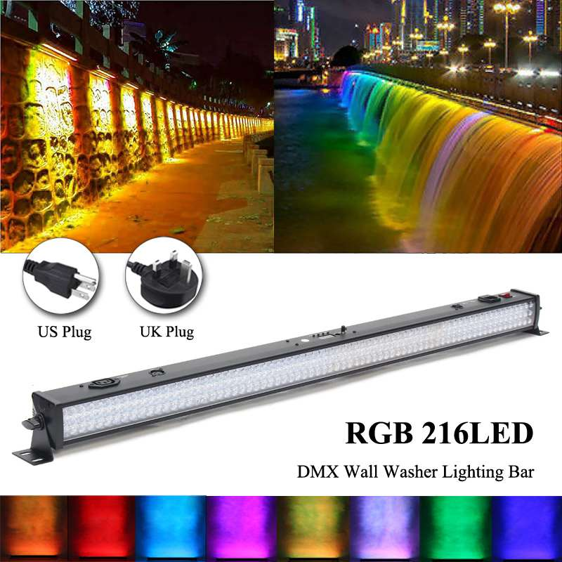 RGB 216 LED Wash Wall Light Bar DJ Stage Lighting DMX 6/24CH Stage Lights Effect Party Lights Auto/Sound Activated Lighting