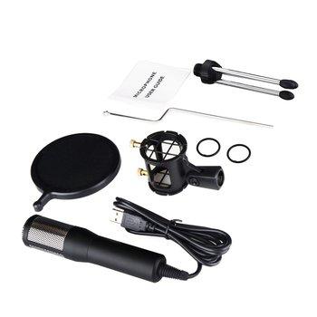 Zestaw mikrofonów USB plug and play mikrofon kondensujący przewodowy mikrofon wskaźnik LED zmniejsz hałas zabezpieczenie przed przeciążeniem tanie i dobre opinie