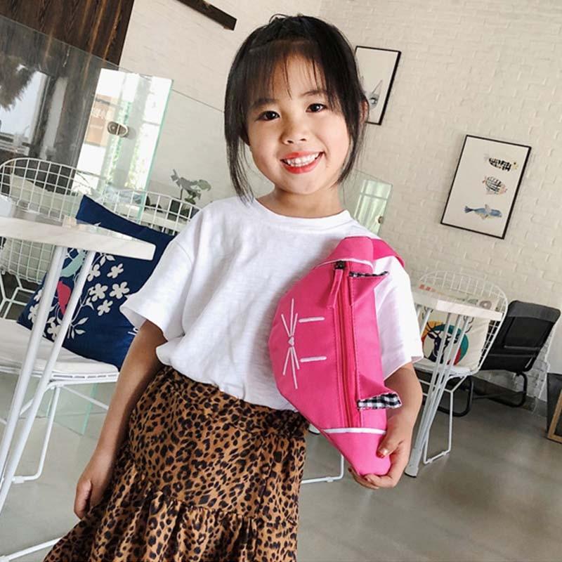 New Child Waist Bag Girl Chest Bag Cute Cat Pattern Bag High Capacity Girl Funny Kidney Bags Banana Bag Nylon Crossbody Bags