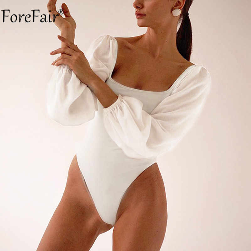 Forefair สแควร์สีดำบอดี้สูทแขนยาว Backless ฤดูใบไม้ร่วงฤดูหนาวสีขาวสบายๆเซ็กซี่สุภาพสตรีเสื้อ