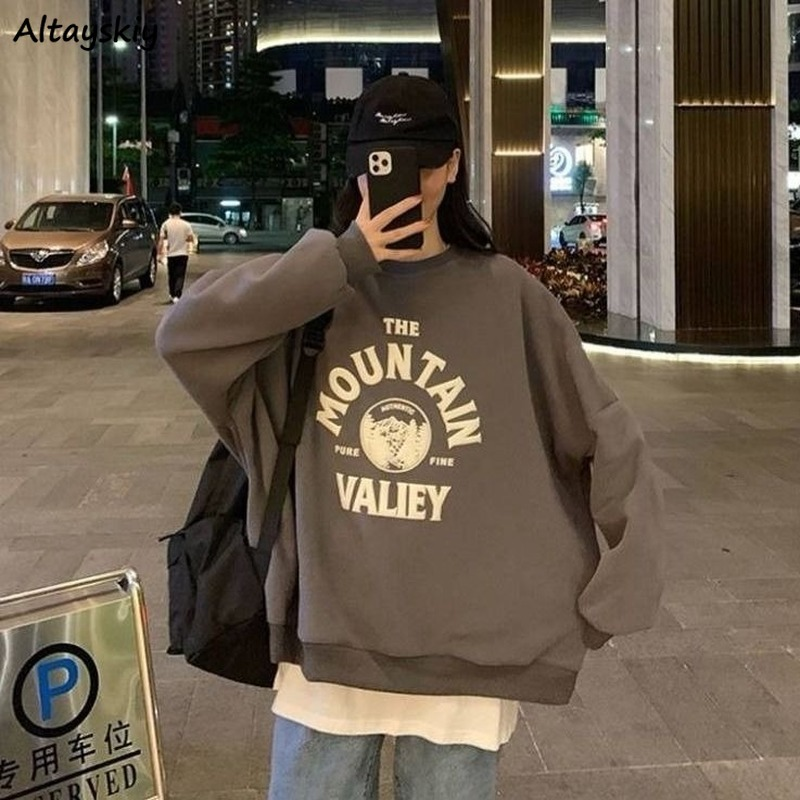 Hoodies Women Velvet Thick Warm High Quality Letter Printed Womens Sweatshirt All-match Loose 2XL Harajuku Streetwear BF Casual