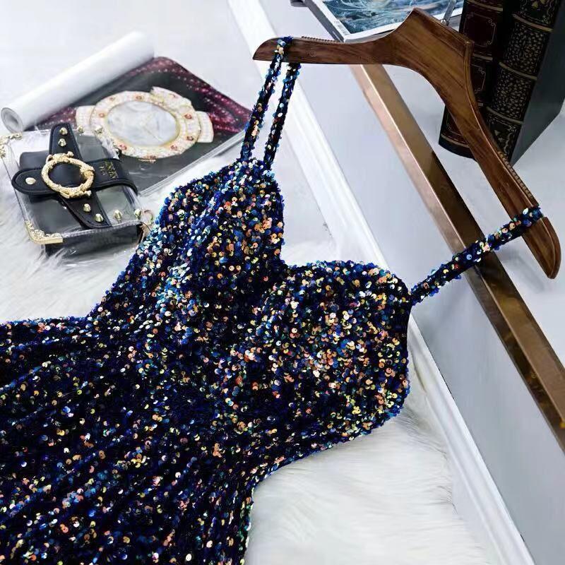 Negro Bling vestidos brillantes FIESTA DE PROMOCIÓN 2020 Dubai correas largas Sweetheart árabe vestidos de fiesta de noche 2019 vestido Formal de lentejuelas doradas - 5