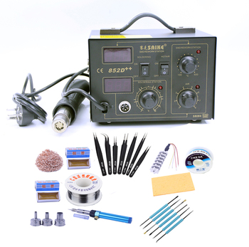 SAIKE 852D++  220V/110V Hot Air Rework Station soldering station 2 in 1 with Supply air gun rack ,and many gifts Free shipping - discount item  8% OFF Welding Equipment