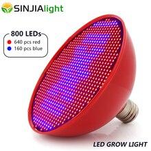Lámpara de crecimiento de plantas de interior, LED E27 de 80W, 800Led, SMD3528, bombilla LED roja y azul para plántulas de flores, acuario, plantas de interior, AC85 265V