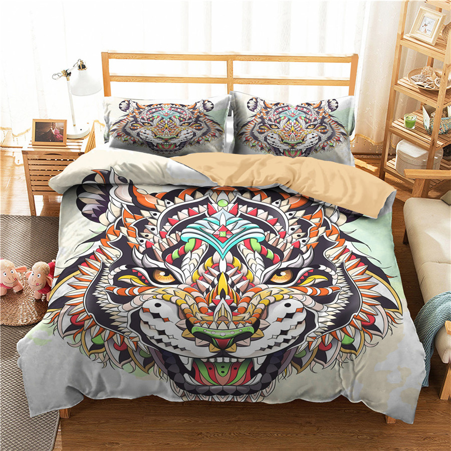 A Bedding Set 3D Printed Duvet Cover Bed Set Tiger Home Textiles For Adults Bedclothes With Pillowcase #LH20