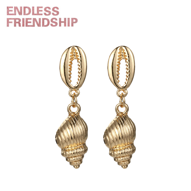 Endless Friendship Sea Animal Conch Earring Jewelry Hot Charms Pendant Earrings for Women Summer Beach Accessories