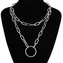 New Chain necklace women/men punk rock circle pendant necklace Vintage emo grunge Goth jewelry