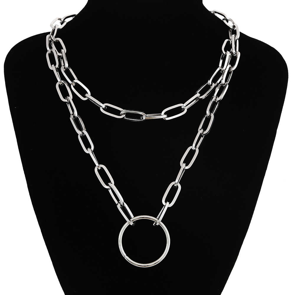 2019 New Chain necklace women/men punk rock circle pendant necklace  Vintage emo grunge Goth jewelry