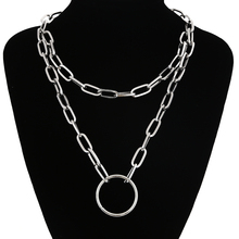 Punk Chain necklace women/men chains necklace 90s aesthetic vintage emo grunge Goth jewelry double layer chain necklace punk 90s chain silver color pendant necklace women aesthetic jewelry xl252