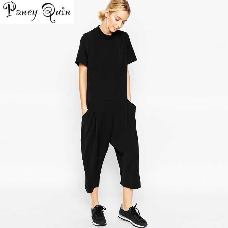 Letnie czarne pajacyki kombinezon damski elegancka boczna kieszeń luźny kombinezon combinaison femme kombinezon jednoczęściowy dla kobiet