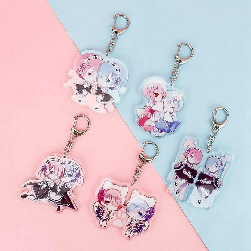 Lovley keychain Acrylic Anime Re:Life in a different world from zero Keychain Cosplay Key Rings For Girl Boy