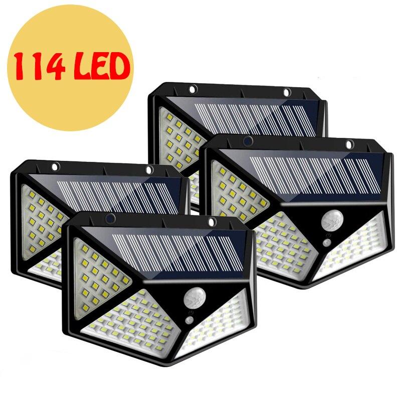 114 LED Solar Light White Outdoor Light Solar Lamp PIR Motion Sensor Wall Light Waterproof Sunlight Powered Garden Street Light