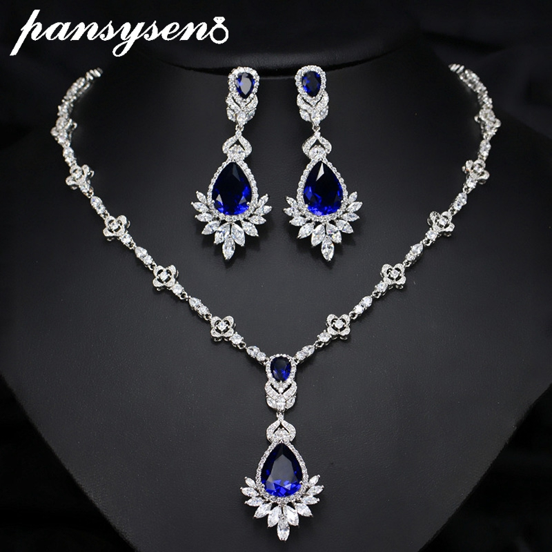 PSNSYSEN Luxury Sapphire Emerald Gemstone Jewelry Sets for Women Necklace/Earrings Fine Jewelry Sets 925 Sterling Silver Set