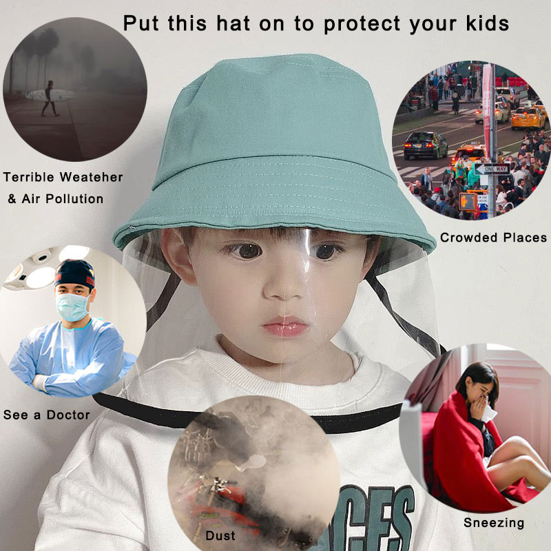 Image 2 - Children Protective Fisherman Hat Anti Saliva Splash Dustproof Non Detachable Mask Kids Solid Cap For Outdoor Travel Holiday HatMens Sun Hats   -