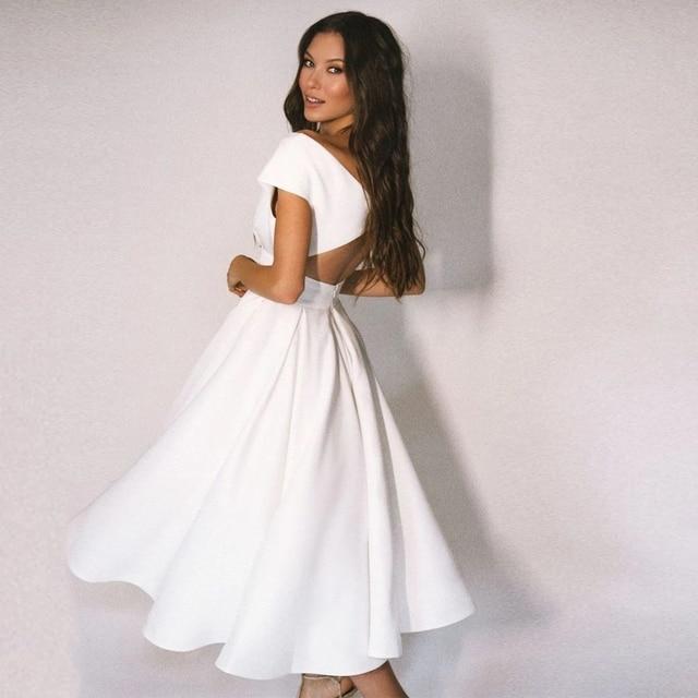 Elegant V-Neck Tea Length Wedding Dress Off the Shoulder Jersey A-Line Bridal Gowns with Pleats Button Back 2