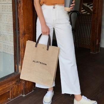 2 PCS/Set  vintage Tote Shopping Bag Eco-Friendly Reusable Linen Handbags Japanese Large Capacity Shoulder Bag 1