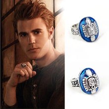 Anillo con diseño de The Vampire Diaries Anillos Salvatore Damon, anillo Reborn, anillo con escudo de la familia de los dedos de Aneis, adornos Vintage