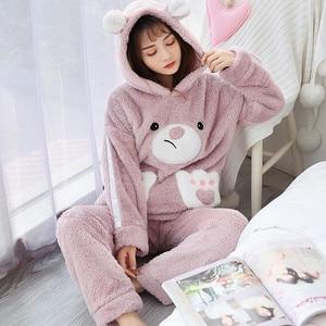 Image 5 - JULYS SONG Autumn Winter Pajamas Women Pajama Sets Flannel Pink Rabit Cartoon Thick Warm Women Sleepwear Cute Animal Homewear