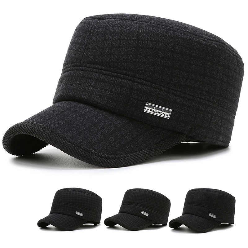 2019 ใหม่ฤดูใบไม้ร่วงและฤดูหนาวแฟชั่นผู้ชายกีฬาหมวกแบนกลาง earmuffs หมวกอบอุ่น
