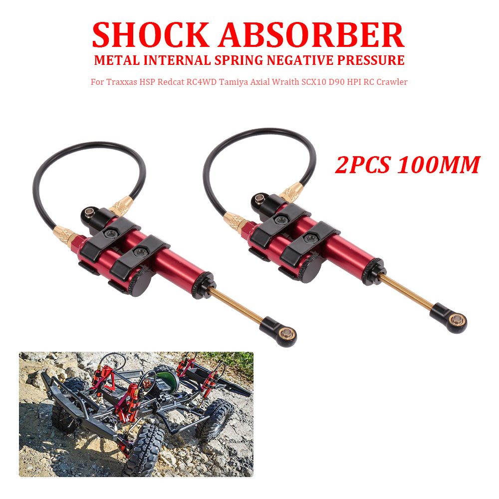 2pcs 100mm Metal Spring Negative Pressure Shock Absorber for Traxxas HSP Redcat RC4WD Axial Wraith SCX10 D90 HPI RC Crawler