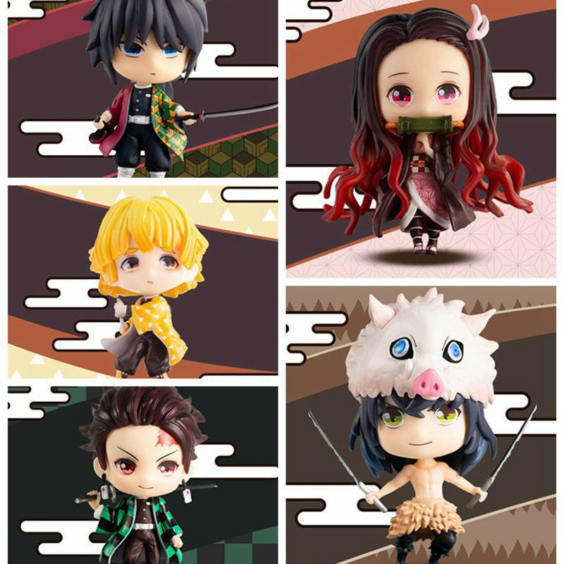 Devil's Blade Anime Figures Demon Slayer Kamado Tanjirou Nezuko PVC Action Figures Collectible Model Toy Q Version Lovely Doll