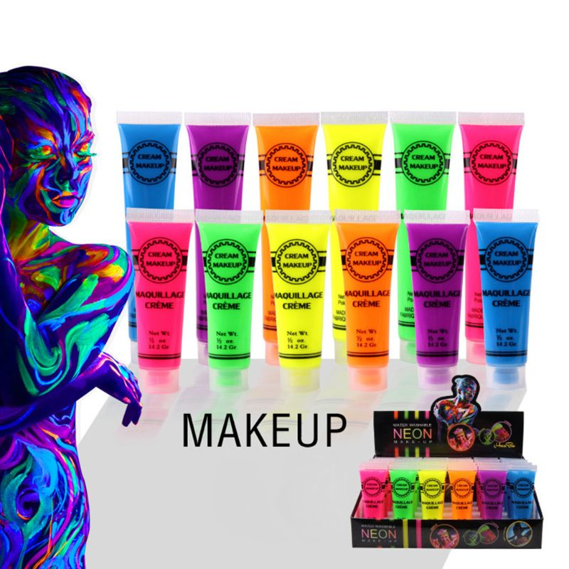 6 Pcs Set Face & Body Paint Neon Glow In The Dark For Rave Festival Party Pigment Powder Slime Additives