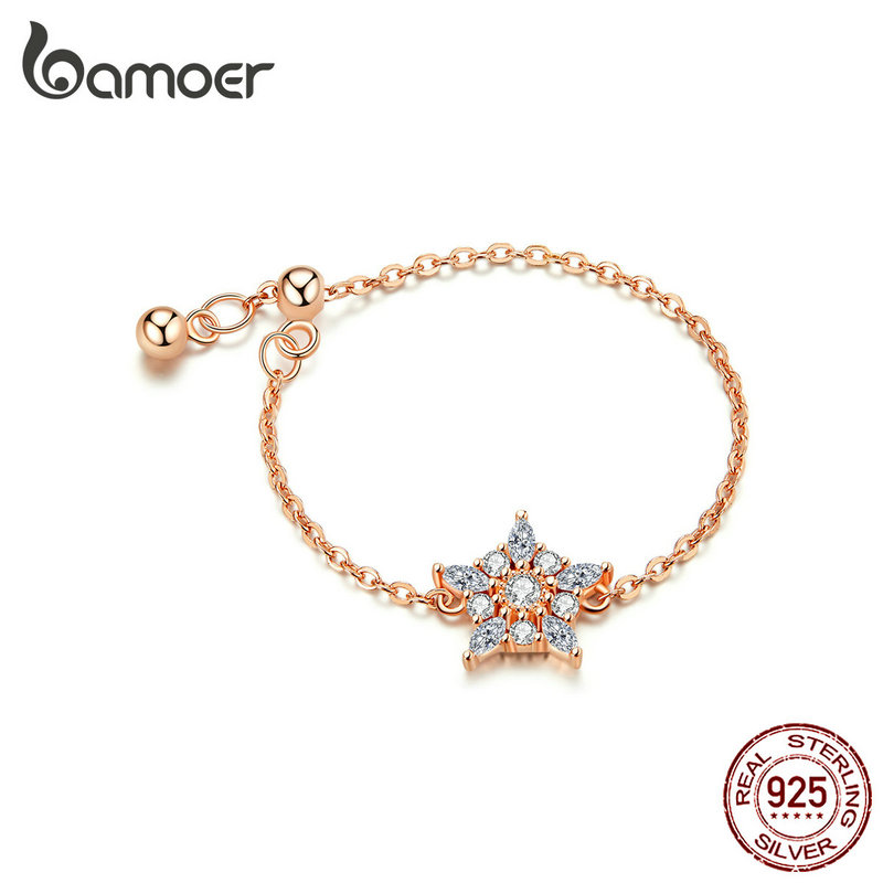 Bamoer Sterling Silver 925 Chain Rings For Women Rose Color Flower Free Size Fine Jewelry 2019 New BSR082