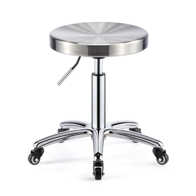 Sturdy Barber Chair Stainless Steel Metal Rotate Lift Beauty Stools Acrylic Nail Embroidery Chairs With Rollers