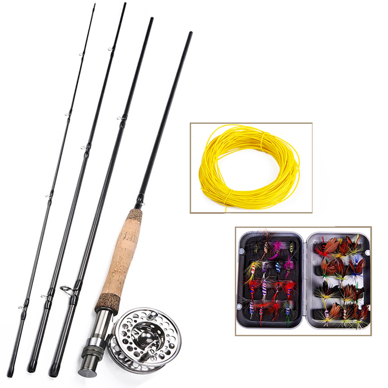 Sougayilang Portable 4 Section Fly Fishing Rod Set 2.7M Fly Rod and 2 Color Fly Fishing Reel Combo and Gift Set Fishing Tackle|Rod Combo| |  - title=