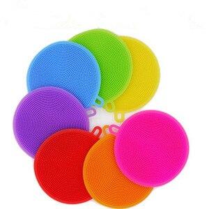 Image 2 - Creative Silicone Dishwashing Sponge Brush Multifunctional Round Silicone Brush Fruit Antibacterial Kitchen Cleaning Pad
