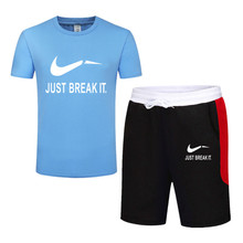 2019 Tide brand Sets Summer Men T Shirts+Shorts Hot Sale Cotton Comfortable Short Sleeve Tshirt men Casual Set Pant