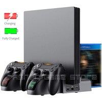 Soporte Vertical Universal PARA PS4/Slim/Pro, 2 mandos, cargador, ventilador de refrigeración, 12 juegos, ranura 3, HUB para Sony Playstation 4 PS 4